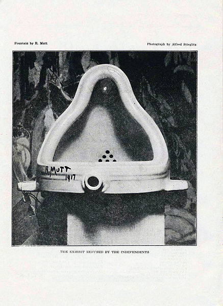 The original Fountain by Marcel Duchamp, 1917, photographed by Alfred Stieglitz